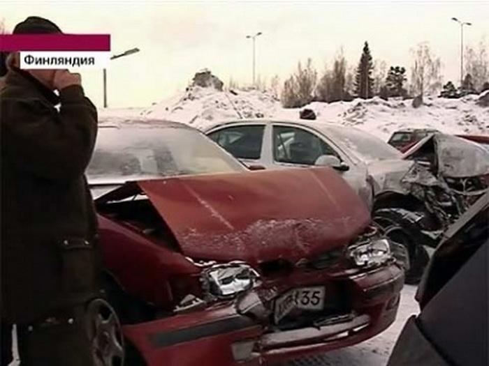 В Финляндии произошло масштабное ДТП